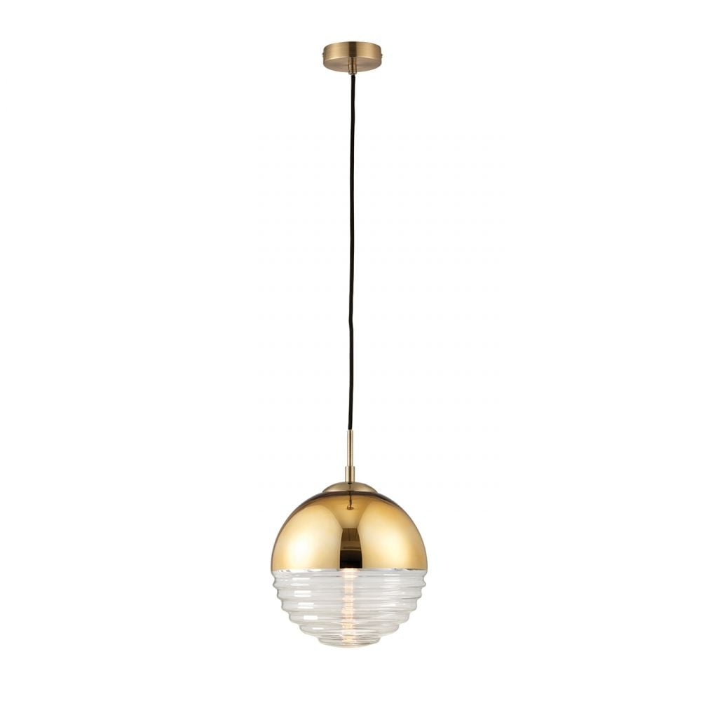 spherical lighting. Paloma Stylish Ceiling Pendant Light In Gold Finish And Ribbed Spherical Glass 68958 Lighting