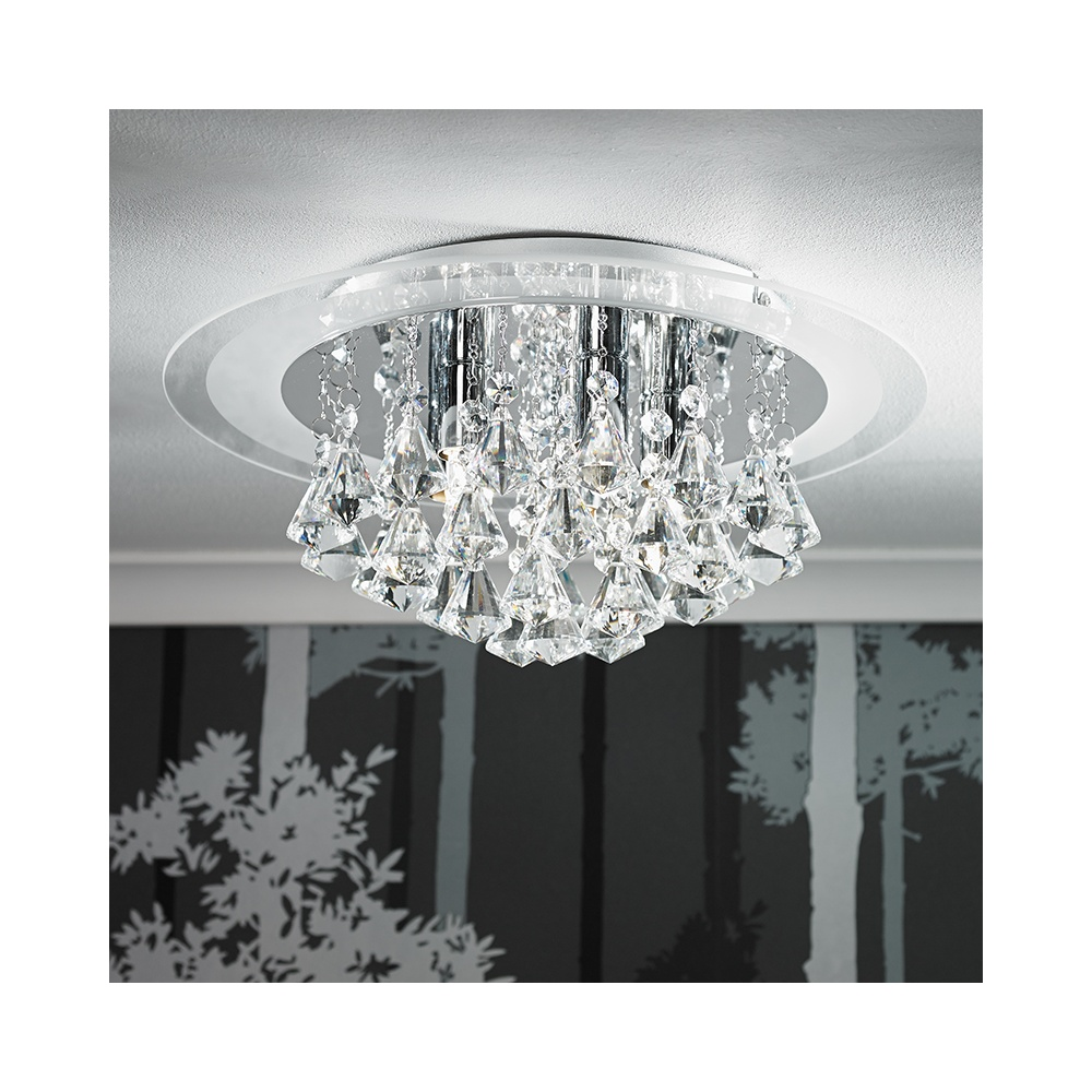 RENNER 6CH 6 Light Semi Flush Chrome Amp Crystal Ceiling