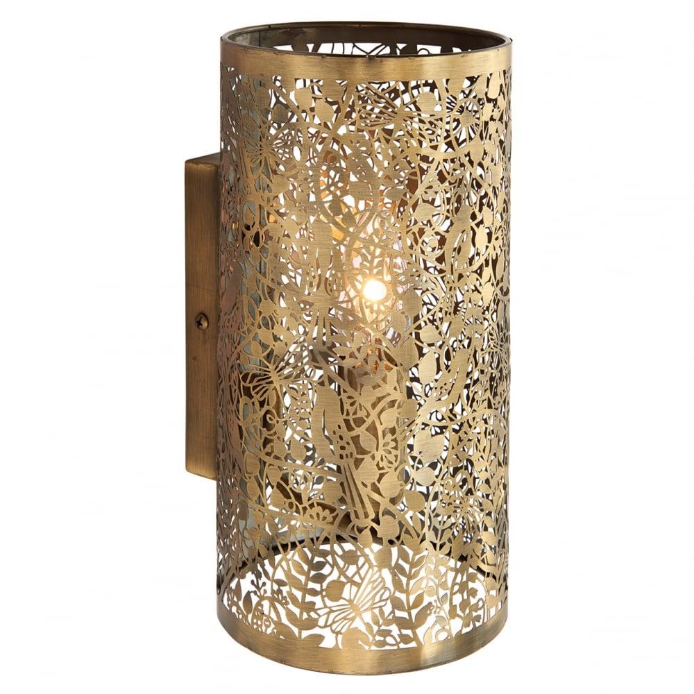 endon secret garden decorative single wall light in antique brass
