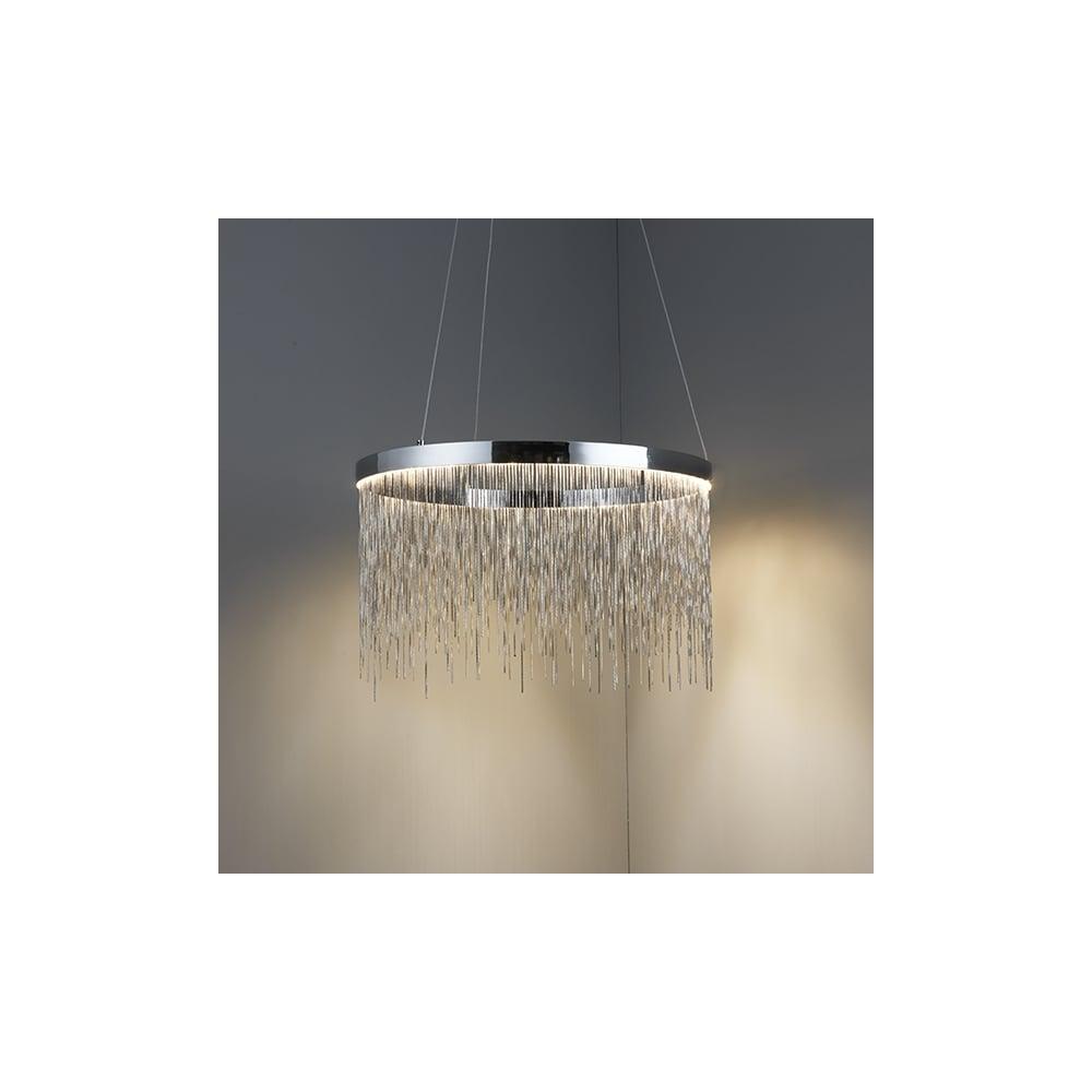 Endon zelma stunning led ceiling pendant light in chrome finish with zelma stunning led ceiling pendant light in chrome finish with silver chain detail 73768 aloadofball Image collections