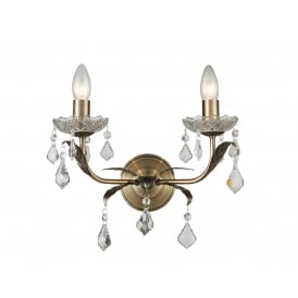 Evon Twin Wall Light In Antique Brass Finish With Crystal Droplets CF1706/02/WB/AB