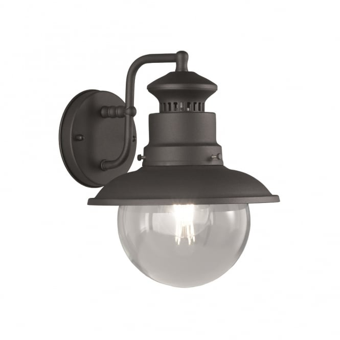Franklite Lighting Exto Outdoor Wall Matt Black Finish With Clear Round Glass Shade THEHOMELIGHTINGCENTRE