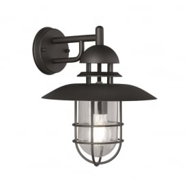 Exto Outdoor Wall Light In Matt Black Finish With Metal Cage EXT6616