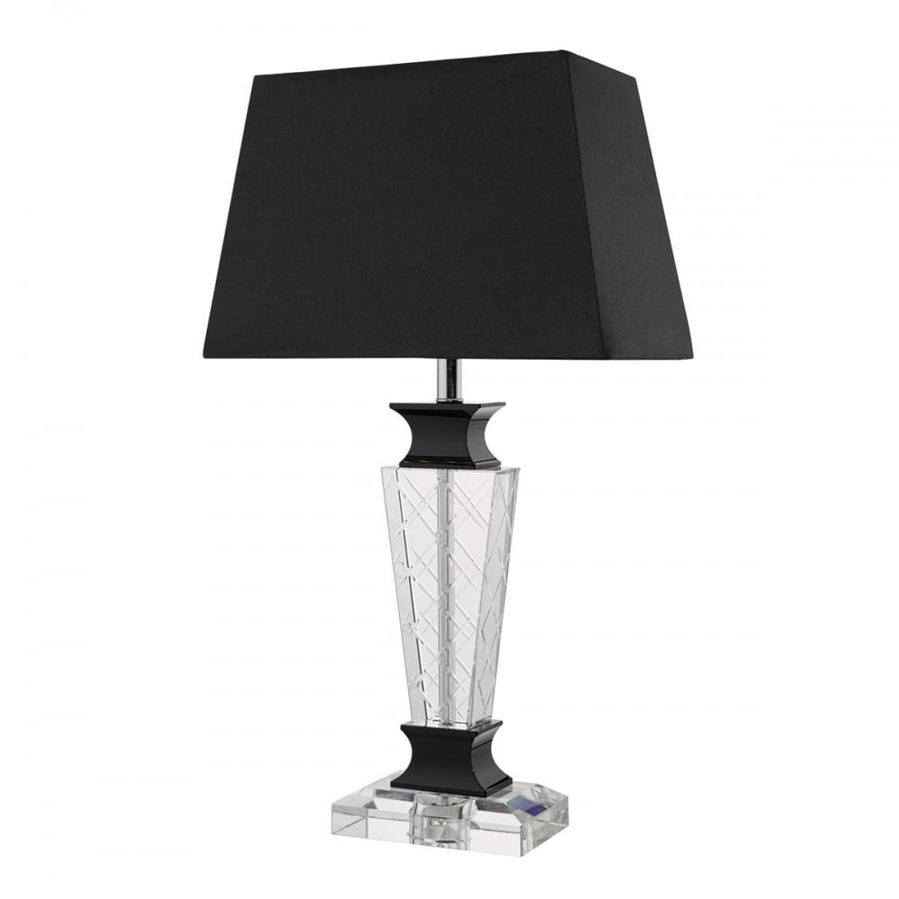 Dar Lighting Ezra Crystal Table Lamp With Black Faux Silk Shade