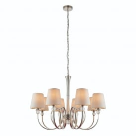 Fabia Elegant 8 Light Ceiling Pendant In Polished Nickel Finish With Marble Silk Shades 74429