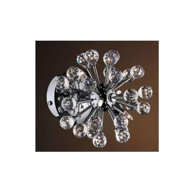 Click Lighting FACET 6W Contemporary 6 Light Crystal Wall Fitting With Chrome Finish
