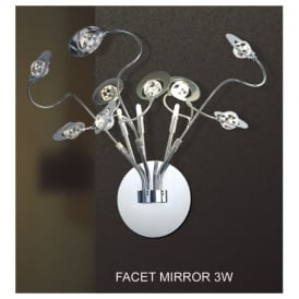 FACET MIRROR 3W Contemporary 3 Light Crystal Wall Fitting With Chrome Finish