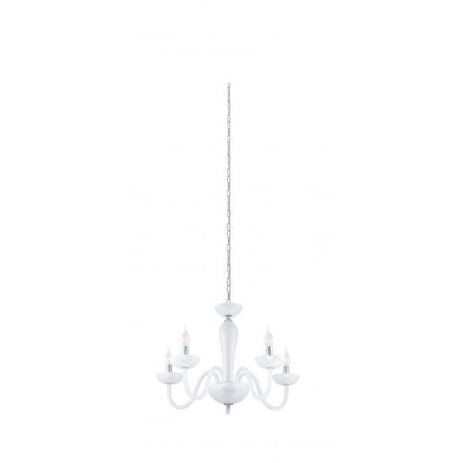 Eglo Lighting Falcado 1 Modern 5 Light Chandelier In Chrome Finish With Satined Glass 39122