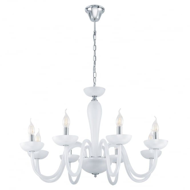 Eglo Lighting Falcado 1 Modern 8 Light Chandelier In Chrome Finish With Satined Glass 39123