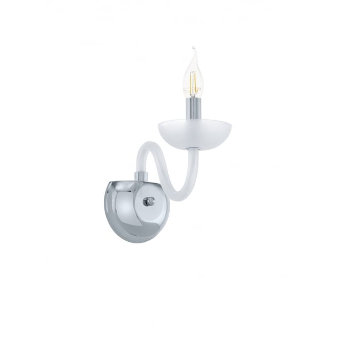 Eglo Lighting Falcado 1 Modern Single Wall Light In Chrome Finish With Satined Glass 39124