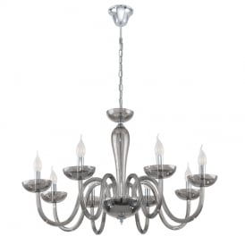 Falcado Modern 8 Light Chandelier In Chrome Finish With Black Transparent Glass 39118
