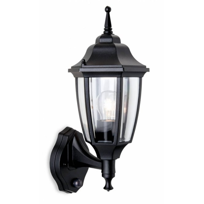 Firstlight Faro Outdoor Uplight Wall Lantern In Black With PIR 8663