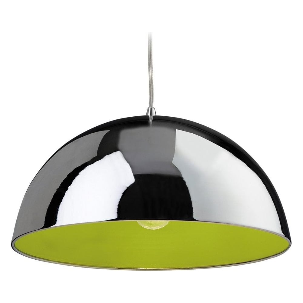 Firstlight bistro 1 light modern ceiling pendant light in chrome and bistro 1 light modern ceiling pendant light in chrome and green 8622chgr aloadofball Image collections