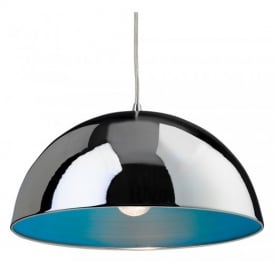 Bistro 1 Light Modern Ceiling Pendant Light in Chrome and Blue 8622CHBL