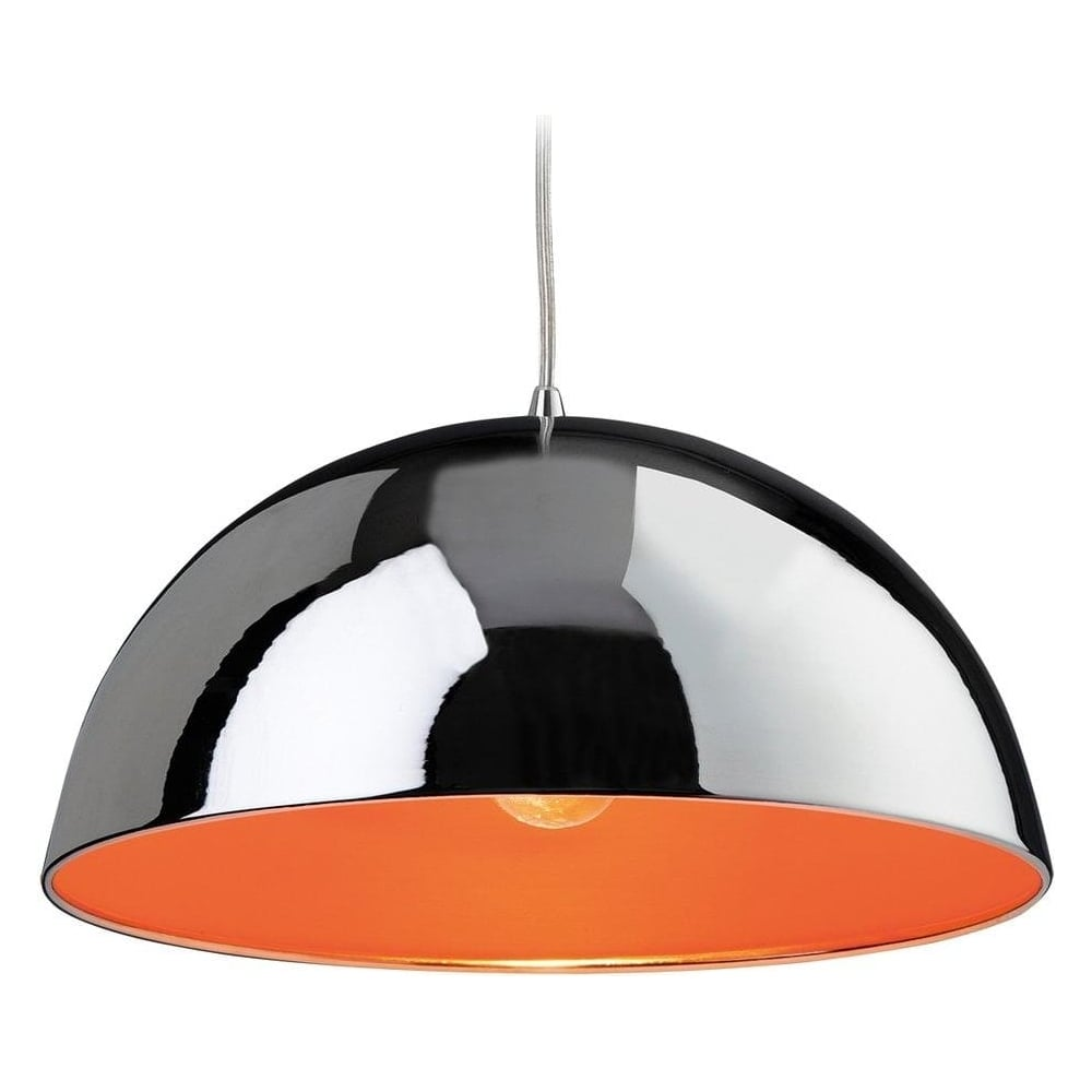 Bistro 1 light modern ceiling pendant light in chrome and orange 8622chor