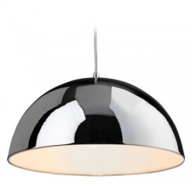 Bistro 1 Light Modern Ceiling Pendant Light in Chrome and White 8622CHWH