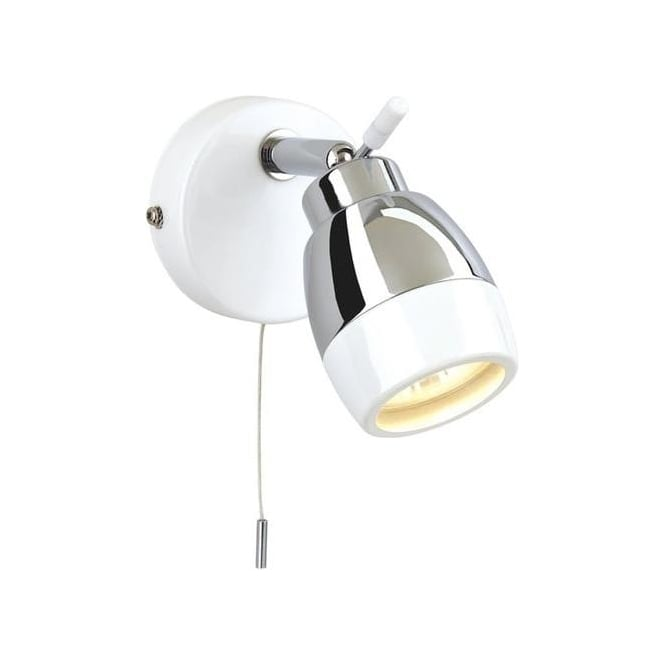Firstlight Marine White and Chrome 1 Light Bathroom Wall Spotlight - 8201WH