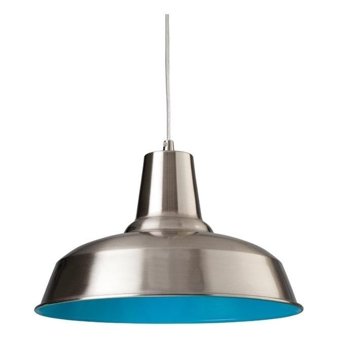 Firstlight Smart Modern Modern Brushed Steel and Blue Finish Ceiling Pendant