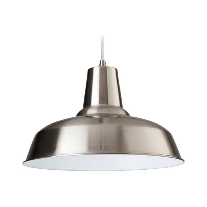 Firstlight Smart Modern Modern Brushed Steel and White Finish Ceiling Pendant