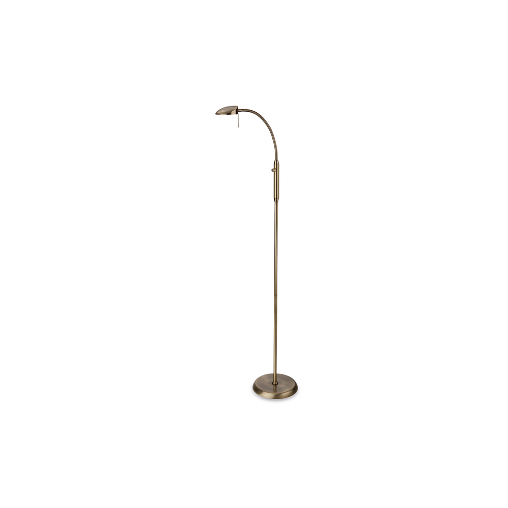 Milan Dimmable Led Floor Lamp In Antique Brass Finish 4927ab