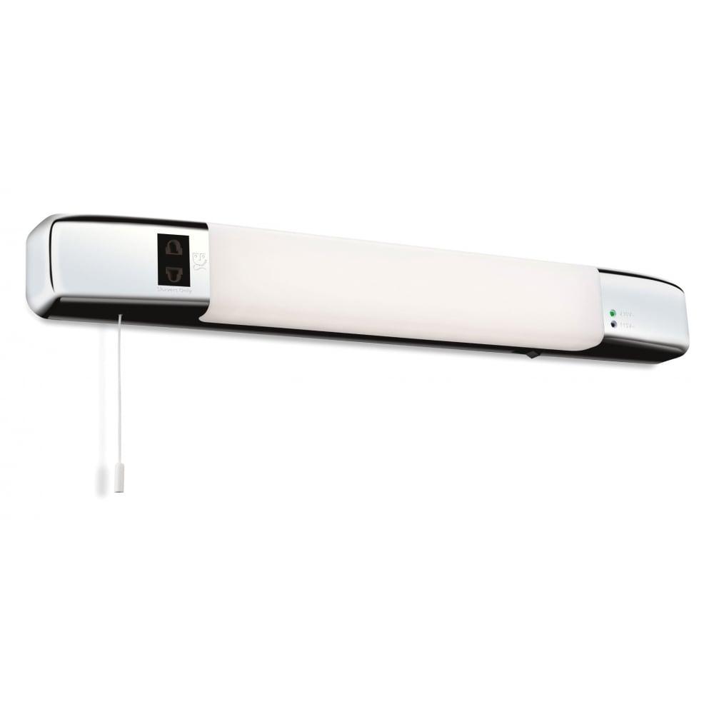 Led Bathroom Centre Light firstlight slimline bathroom led shaver light in chrome finish