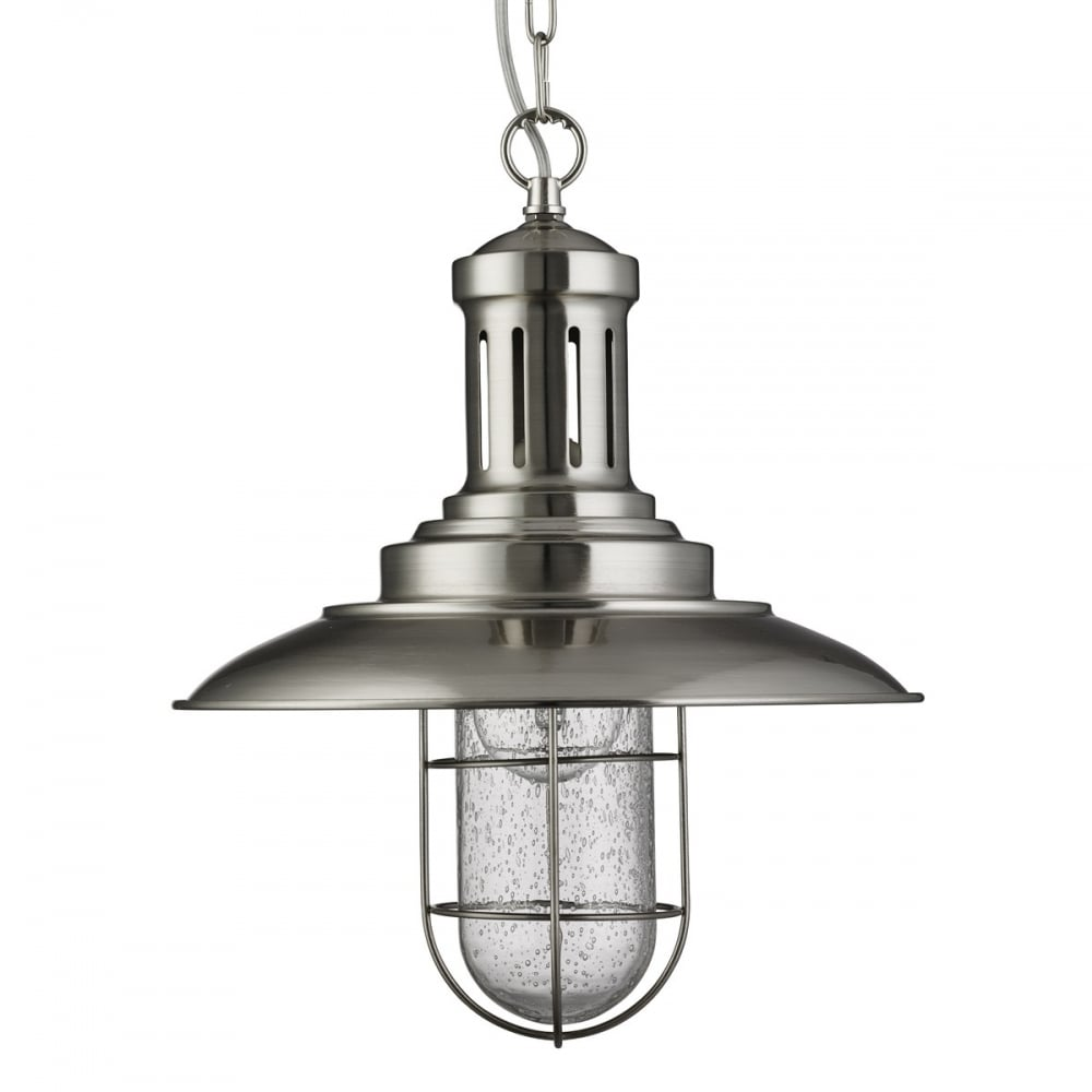 new product 4a0d0 25780 Fisherman Ceiling Pendant Light In Satin Silver Finish With Seeded Glass  5401SS