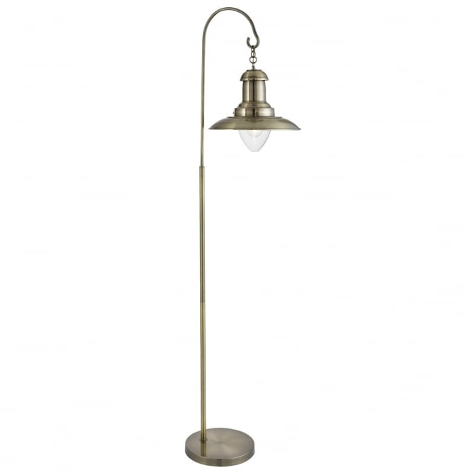 Fisherman Floor Lamp In Antique Brass Finish With Glass Shade 6502ab