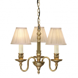Fitzroy 3 Light Chandelier In Mellow Brass Finish With Beige Shades 63816