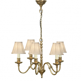 Fitzroy 5 Light Chandelier In Mellow Brass Finish With Beige Shades 63815