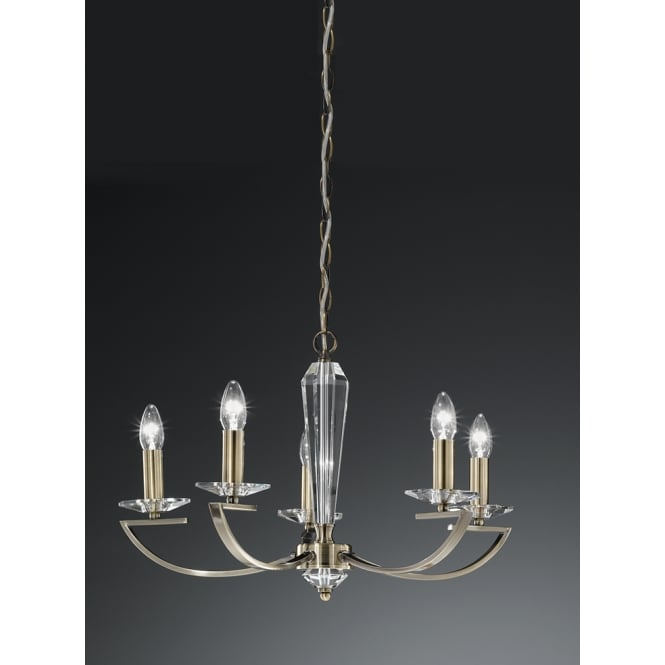 Franklite Lighting FL2242/5 Artemis Bronze 5 Light Crystal Chandelier