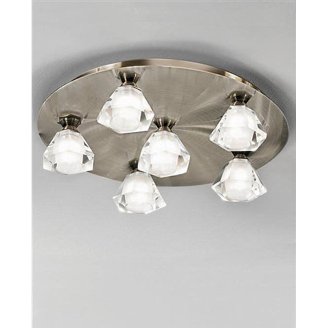 Franklite Lighting FL2244/6 Starz Bronze 6 Light Halogen Flush Ceiling Lamp