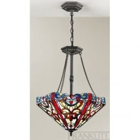 FL2259/3 and T123 Vaudeville Tiffany Pendant Ceiling Light