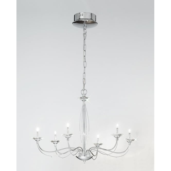 Franklite Lighting FL2279/6 Aphrodite 6 Light Chrome and Crystal Chandelier
