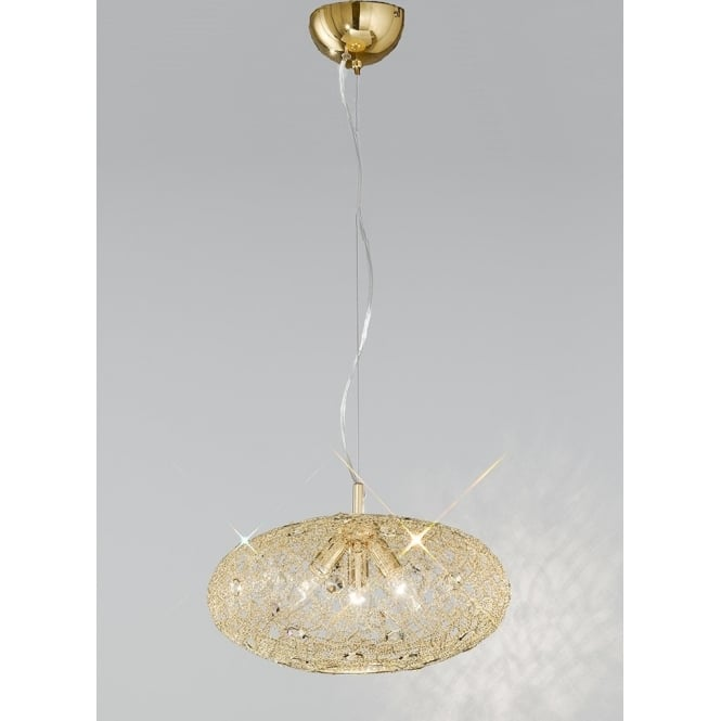 Franklite Lighting FL2286/3 Sirius 3 Light Gold and Crystal Mesh Ceiling Pendant