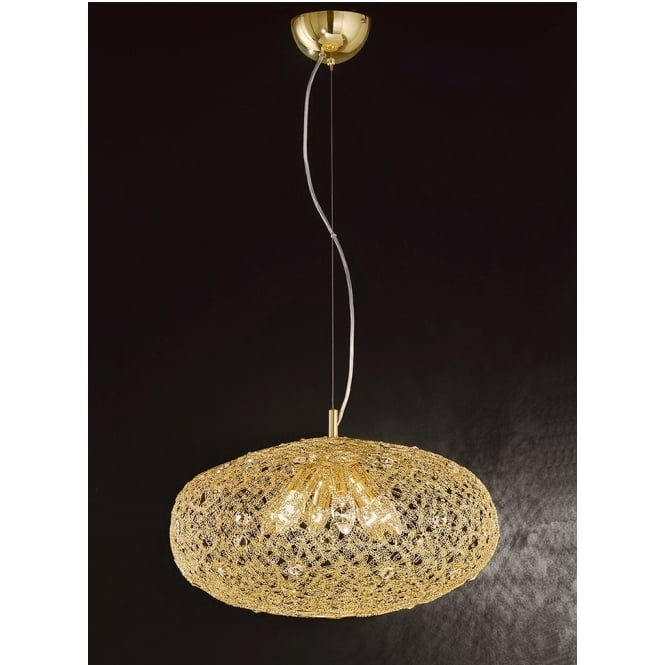 Franklite Lighting FL2286/6 Sirius 6 Light Gold and Crystal Mesh Ceiling Pendant