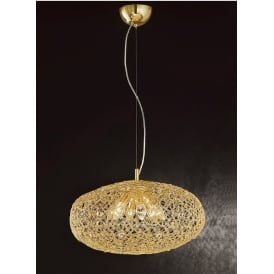 FL2286/6 Sirius 6 Light Gold and Crystal Mesh Ceiling Pendant