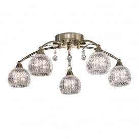 FL2296/5 Jura 5 Light Bronze, Crystal Semi Flush Ceiling Light