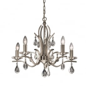 FL2298/5 Willow 5 Light Satin Nickel and Crystal Chandelier