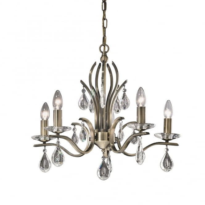 Franklite Lighting FL2299/5 Willow 5 Light Bronze and Crystal Chandelier