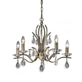 FL2299/5 Willow 5 Light Bronze and Crystal Chandelier
