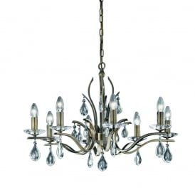FL2299/8 Willow 8 Light Bronze and Crystal Chandelier