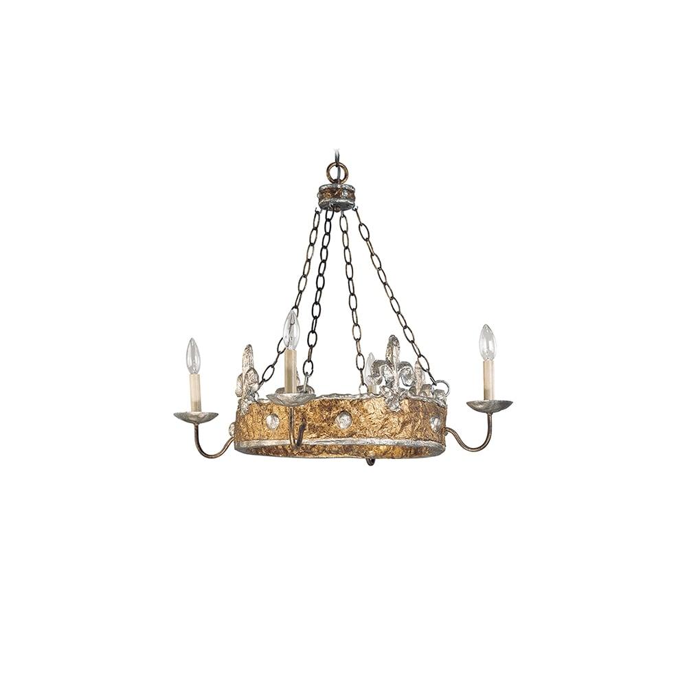Crown Stylish Chandelier By Benjamin Burts In Silver Fleur De Lis Finish Fb Crown4