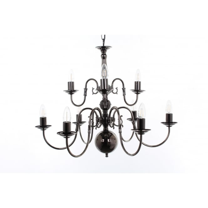 Impex Lighting Flemish 9 Light Chandelier In A Choice Of Finishes BF00350/6+3