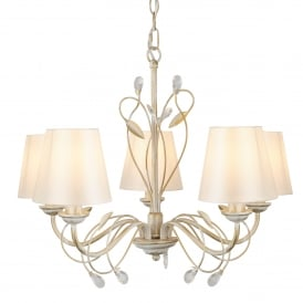 Fleur Decorative 5 Light Ceiling Pendant Light In Cream And Gold Finish 8055-5CR