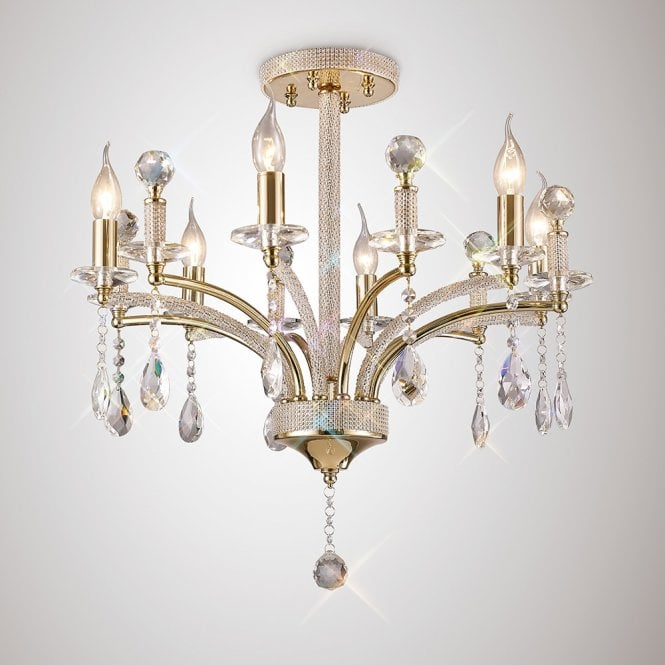 Diyas Lighting Flore 6 Light Semi Flush Ceiling Light In French Gold With Crystals IL32366