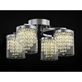 Florina 4 Light LED Crystal Flush Ceiling Light In Chrome Finish LED608242/04/PL/CH