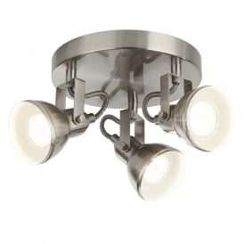 Focus 3 Light Ceiling Plate Spotlight In Satin Silver Finish 1543SS