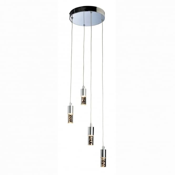 Firstlight Focus LED Multi Drop Ceiling Light In Chrome Finish With Acrylic Bubble Shades 4885