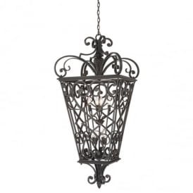 Fort Quinn 8 Light Chain Lantern in Marcado Black Finish QZ/FORTQUINN8