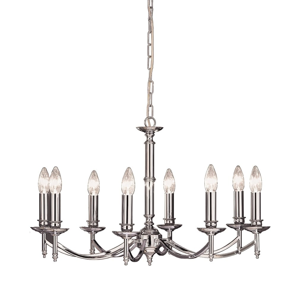 Franklin Classic 12 Light Ceiling Chandelier In Polished Chrome Finish With Glass Drops F2403 12